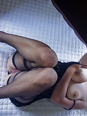 Ivetta teases her shaved pussy with a chain
