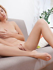 Genevieve Gandi takes off her lingerie and masturbates on..