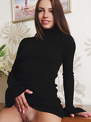 Alluring Eos strips her black dress as she displays her..