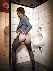 Foxy Sanie plays with her pussy as she piss in the men's toilet.