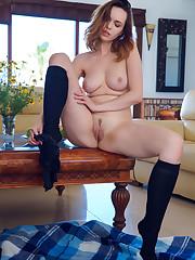 Nasita teases in panties and knee socks