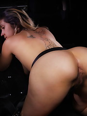 Gabriela shows off her hairy pussy before masturbating in..