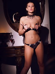 Sybil A in a stunning budoir set showing off her lean,..