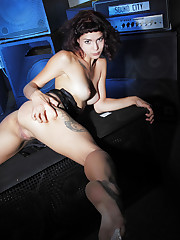 Callista shows off her sexy body and delectable pussy in front..