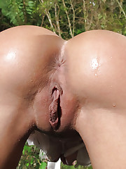 Anikka Albrite has her big tits teased outdoors