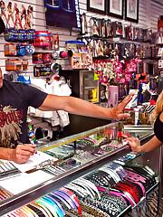 Shyla Stylez gets fucked hard in a porn shop!