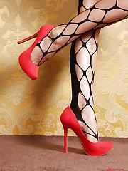Stunning Audrey in red heel scene