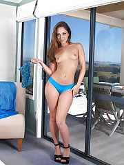Remy LaCroix strips down her jeans shorts outdoors