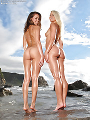 Two sexy sluts play on the beach