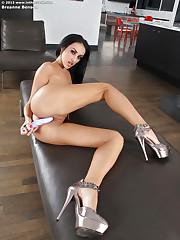 Dark haired babe Breanne Benson posing in high-heels