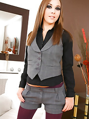 The lovely Loora in a smart grey waistcoat and matching..