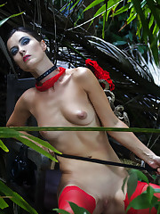 Danilla bares her sexy, red lingerie as she erotically poses in..
