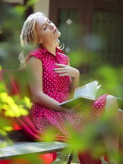 Sandra Shine enjoys reading outdoors before masturbating and..