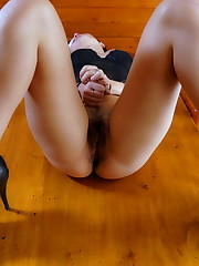 Alana H fingers and toys her hairy hole