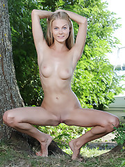 Blonde stunner Nancy A showing off her naked, lean body,..