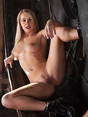 Seductive blonde, Sarika A, shows off her hot bod with wide..