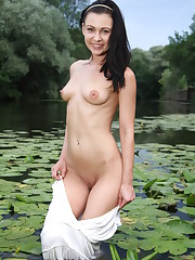Kara Rosemary strips at the pond baring her slim body and..