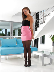 Tanned tramp in black pantyhose