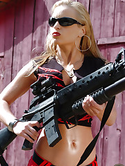 Jenny Poussin and her favorite weapon outdoors