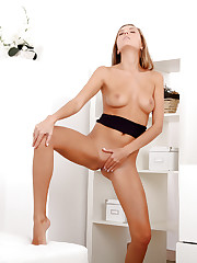 Alluring Nubile Clover drills her juicy fuck hole with her..