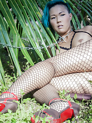 Sweet Julie bares her fishnet stockings as she bares her..