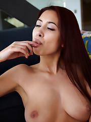 Flirty Paula Shy takes her pussy juice
