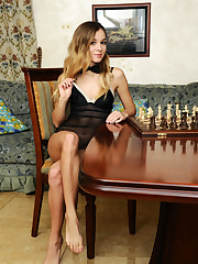 Gorgeous Kaleesy bares her sexy, nubile body as she plays chess.