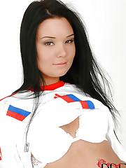 Russian babe in soccer gear strips