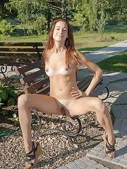 Sugary strips in the park as she bares her sexy, tanned..