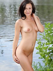 Kara Rosemary bares her slender body as she poses by the..