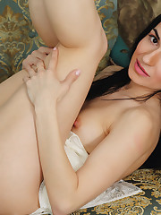 Irida bares her naked body with erect nipples and small..