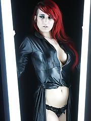 Skinny redhead Renata showing her natural big tits