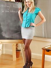 Bianca H in silk teachers outfit & black suspenders