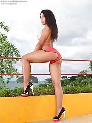 Ria Rodriguez reveals her perfect big tits in high-heels