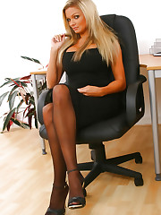 Naughty Jennifer lets her black minidress hit the floor as..
