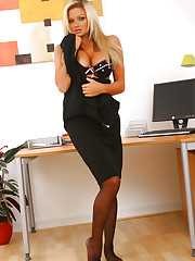 Naughty Jennifer lets her black minidress hit the floor as she..
