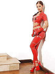 Red latex and a big black cock!