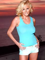Hanna Hilton in her bikini during sunset slowly strips at..