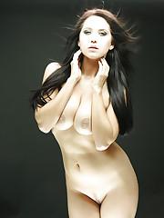 Brunette girl Chrissy undresses her fishnet lingerie on..