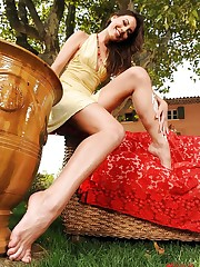 Gorgeous Brunette shows her feet