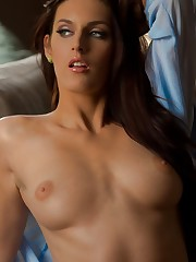 takes off her blue top and panties