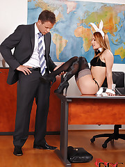 Boss gets a sex bunny in a box