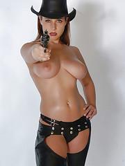 Sexy model Erica shoots her deadly guns
