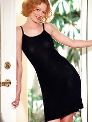 slips out of her black dress and opens up to you
