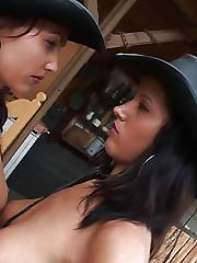 Busty brunette Angel Dark fucking with Julia