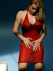 plays with herself in her red nightie