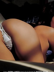 teases and pulls at her moist white panties