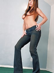 shows you whats under her white panties and blue jeans