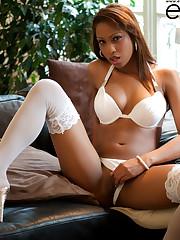 Katia De Lys, masturbating herself with crystal dildo and..