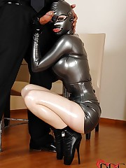 Latex beauty gets banged in a box